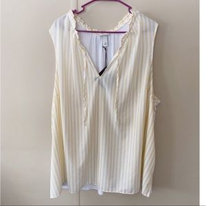 NWT Ava & Viv Yellow Striped Top Size 4X